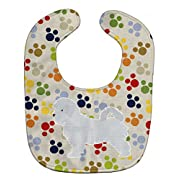 Caroline's Treasures Pawprints Baby Bib, Maltese, Large