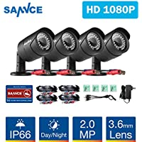 SANNCE 4 Pack Security Camera Kits 1/3 1080P(2MP) AHD Security Surveillance CCTV Camera Kit 30 Led Had IR Cut Day Night 3.6mm Lens Outdoor/Indoor IP66 Weatherproof