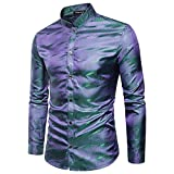 MAGE MALE Men's Luxury Dress Shirt Casual Long Sleeve Camouflage Fitted Wrinkle Free Shirt (50-Blue, XL)
