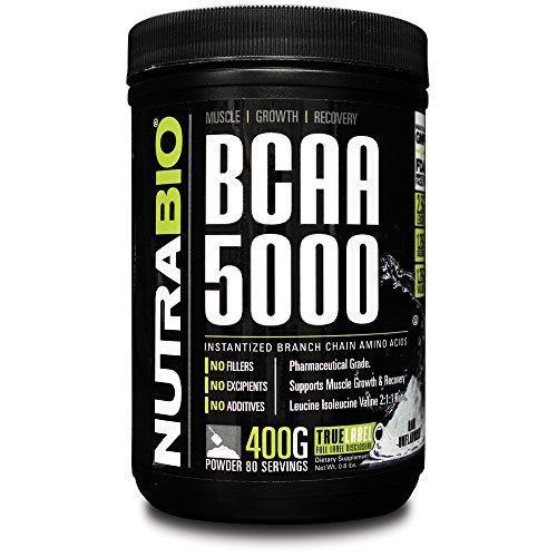NutraBio BCAA 5000 Powder - 400 Grams - Unflavored - 100% Pure acides aminés branchés - Testé HPLC.