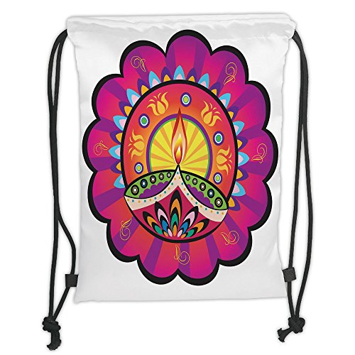 Custom Printed Drawstring Sack Backpacks Bags,Diwali,Floral Paisley Design with Oriental Details and Tribal Ethnic Diwali Candles Print,Multicolored Soft Satin,5 Liter Capacity,Adjustable String Closu by iPrint