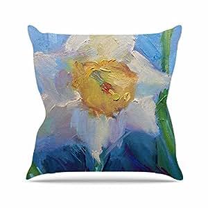 """KESS inhouse cs1052aop0318x 45,7""""Carol Schiff Narcisos Día Amarillo y Azul"""" Cojín Manta de exterior, multicolor"""