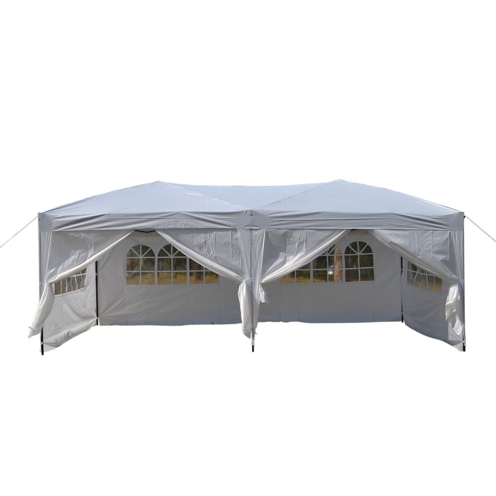 Z ZTDM 10' X 20' Pop Up Canopy Tent for Outdoor Wedding Party Event BBQ, with 6 Removable Sidewalls,Sunshade Snow Shelter Waterproof Folding Heavy Duty,White