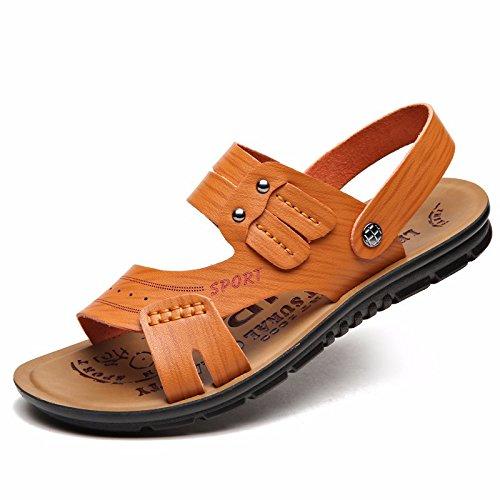 Das neue Sommer Männer Schuh Strand Schuh Faser Echtleder Männer Freizeit Mode Trend Jugend Naht Echtleder Sandalen ,Gelb,US=9.5,UK=9,EU=43 1/3,CN=45