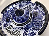 Talavera Ceramic Sombrero Ashtray 4 1/2'' Modern Art Design Authentic Puebla Mexico Pottery Hand Painted Design Vivid Colorful Art Decor Signed [Blue Flowers]
