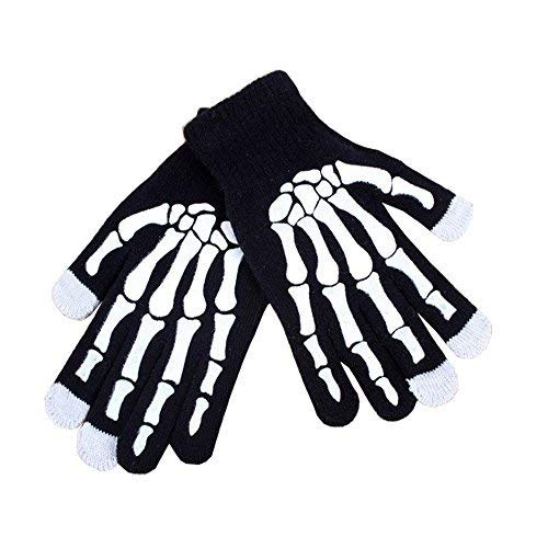 Bocks Knitted Screen Touch Gloves, Christmas Gloves, Black Gloves, Touchscreen Gloves for Smartphones & Tablets with Full Fingers (Skeleton) -