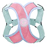 Gooby - Perfect Fit X Harness, Small Dog Choke Free Step-In Harness with Synthetic Lambskin Soft Strap, Pink, Small