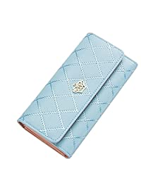 Women Clutch Purse Bag PU Leather Wallet Card Holder Fahion Lady Bag (Light Blue)