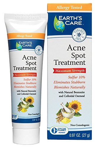 Earth's Care 10% Sulfur Acne Spot Treatment, No Parabens, Colors or Fragrances, Allergy Tested 0.97 OZ