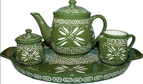 Temp-tations Carved Old World Green 4-pc Tea Pot Set w/ Teapot, Sugar, Creamer, & Tray