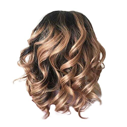 Clearance Short Wavy Curly Wig | Inkach Black Womens Middle Parting Ombre Synthetic Fiber Full Wigs Heat Resistant Costume Party as Human Hair (Brown)