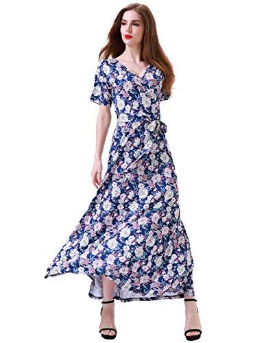 Aphratti Women's Bohemian Short Sleeve V Neck Long Beach Wrap Maxi Dress Medium Navy/Floral
