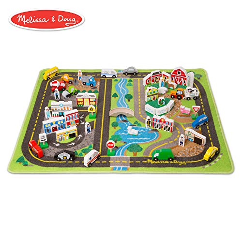 Melissa & Doug Deluxe Activity Road Rug Play Set with 49 Wooden Vehicles and Play Pieces]()