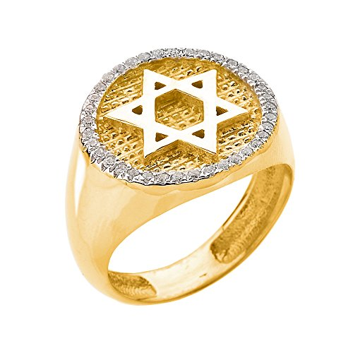 Men's Solid 14k Yellow Gold Diamond-Studded Jewish Star of David Ring, Size 11