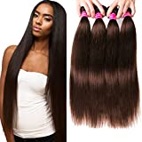 Cheap Aphro Hair Malaysian Virgin Hair Straight 8A Unprocessed Virgin Human Hair Bundles Total 300G 3 bundles 2# Dark Brown (20 20 20)