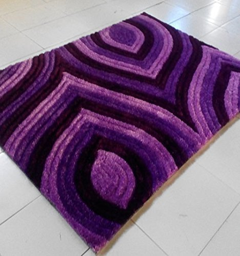 - Home Must Haves Super Soft Shag Shaggy Modern Contemporary Area Rug Ideal for Any Living Room Bedroom Hand Carved Carpet (5'x7' Purple)