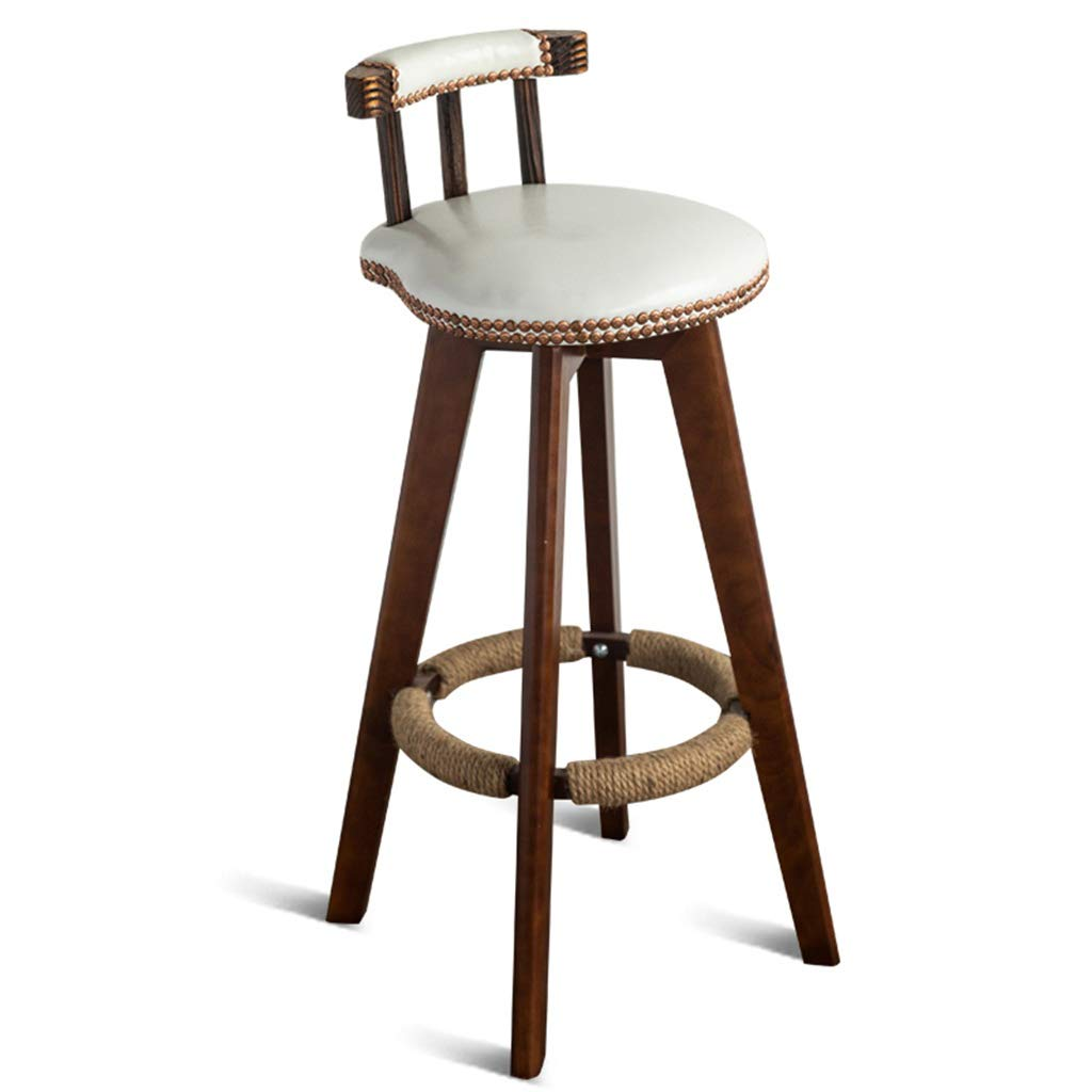 White Seat height 73cm DXZ-Barstools Barstools Chair Hemp Rope Footrest PU Cushion Seat Backrest Dining Chairs for Kitchen   Pub   Café Bar Stool 4 Brown Wood Legs Max. Load 150 kg Vintage Barstool Design