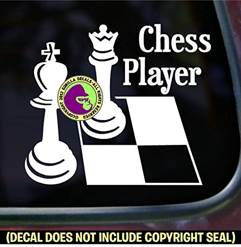 (CHESS PLAYER Queen Board Game Piece Decal Vinyl Bumper Sticker Laptop Check Mate King Window Car Sign WHITE)