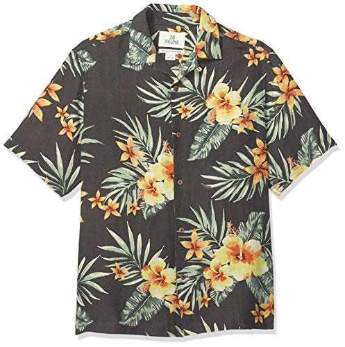 28 Palms Men's Relaxed-Fit Silk/Linen Tropical Hawaiian Shirt, Charcoal/Orange Hibiscus Floral, Medium