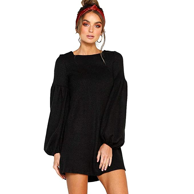 6e9774b0738 Image Unavailable. Image not available for. Color  neudas Women Casual  Solid Puff Sleeve Pullover Knitted Sweater Mini Dress Dresses