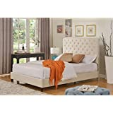 "Home Life Cloth Light Beige Cream Linen 51"" Tall Headboard Platform Bed with Slats Queen - Complete Bed 5 Year Warranty Included 008"