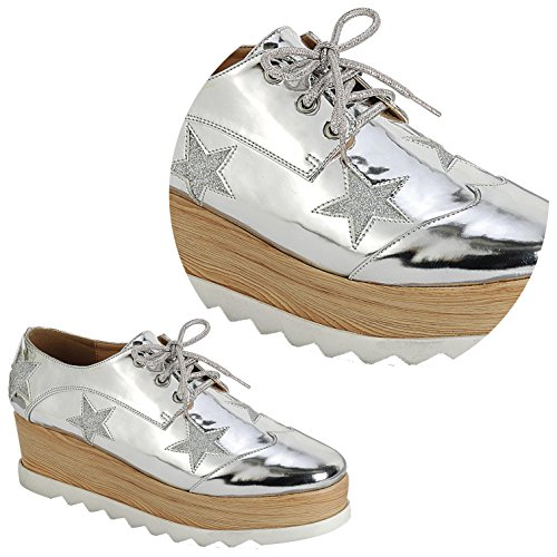 Women Silver Platform Jetta Wedge Stars to Back Sale Colors Shoe Oxford for School Assorted fOHFfqxwnz