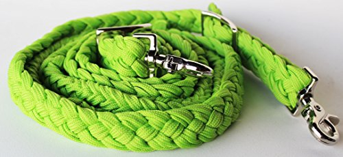 (PRORIDER Roping Knotted Horse Tack Western Barrel Reins Nylon Braided Lime Green 60729)