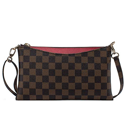 Louis Vuitton Wristlet - Small Checkered Crossbody Bag for Women Wristlet Clutch with Strap (Red)