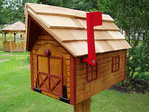 Cabin Log Red (Amish Handmade Handcrafted Rural Mailbox w Flag USPS Log Cabin Red Trim)
