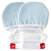 goumikids - goumimitts, Scratch Free Baby Mittens, Organic Soft Stay On Unisex Mittens, Stops Scratches and Prevents Germs - (Drops - Aqua, 0-3 Months)