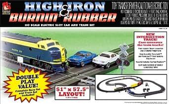 Life Like High Iron And Burnin' Rubber Train And Racing Set