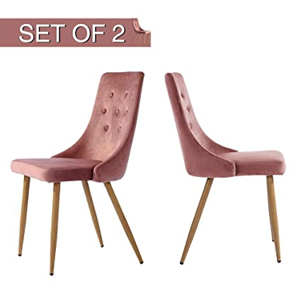 Greenforest Velvet Dining Chairs Set Of 2 For Living Room Parsons Classic Upholstered Accent Chairs Mid Century Modern Kitchen Chairs High Back Rose