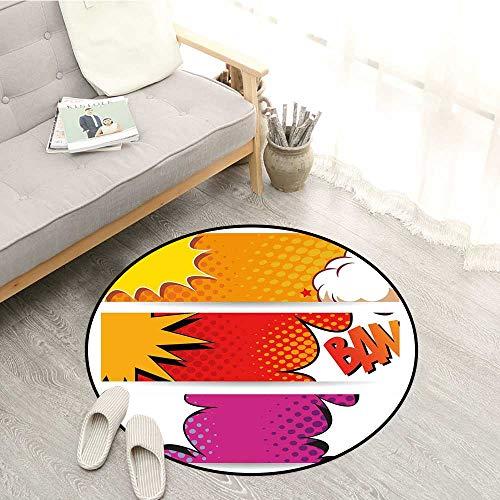 Superhero Bedroom Rugs Comic Strip Bubbles Backdrop in Figure Logo Fantasy Fiction Theme Ideal Gift for Children 4'7