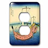 Florene Hokusai Japanese Art - Image of Hokusai Painting The Kazusa Sea with Boat - Light Switch Covers - 2 plug outlet cover (lsp_245167_6)