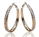 Gemini Fashion Ladies Sparkle Gold & Silver Big Round Hoop Earrings Gm167