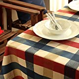 WOMHOPE Blue & Yellow & Red Plaid Cotton Coating Tablecloths Rectangular Table Cover (55-inch by 86-inch Rectangle)