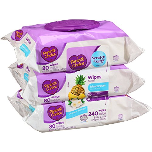 Lightly Scented Baby Wipes (Parent's Choice Island Petals Non-Flushable Baby Wipes, 720 Sheets (Pack of)