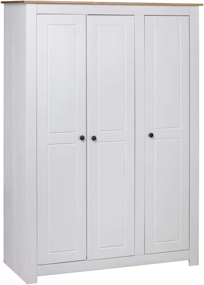 Festnight Armario Ropero Roperos de Dormitorio de Madera Maciza de Pino Blanco 118x50x171,5 cm con 3 Puertas 4 estantes y un Compartimento Grande