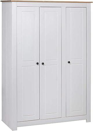 Festnight Armario Ropero Roperos de Dormitorio de Madera Maciza de Pino Blanco 118x50x171,5 cm con 3 Puertas 4 estantes y un Compartimento Grande: Amazon.es: Hogar