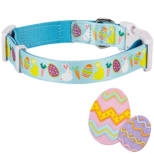 """Blueberry Pet 8 Patterns Easter Spring Bunny and Egg Designer Dog Collar in Sky Blue, Small, Neck 12""""-16"""", Adjustable Collars for Puppy Dogs"""
