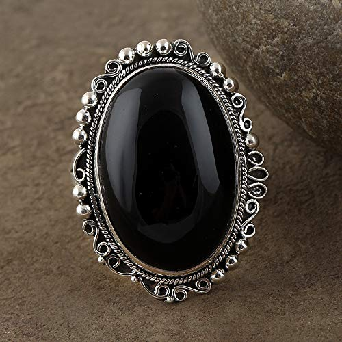 Black Onyx Ring 925 Sterling Silver RIng Victorian Ring Oval Shape Ring Promise Ring Large Ring Antique Ring Personalised Ring Onyx Jewelry Outstanding Ring top Quality Ring Fabulous - Antique Onyx Top