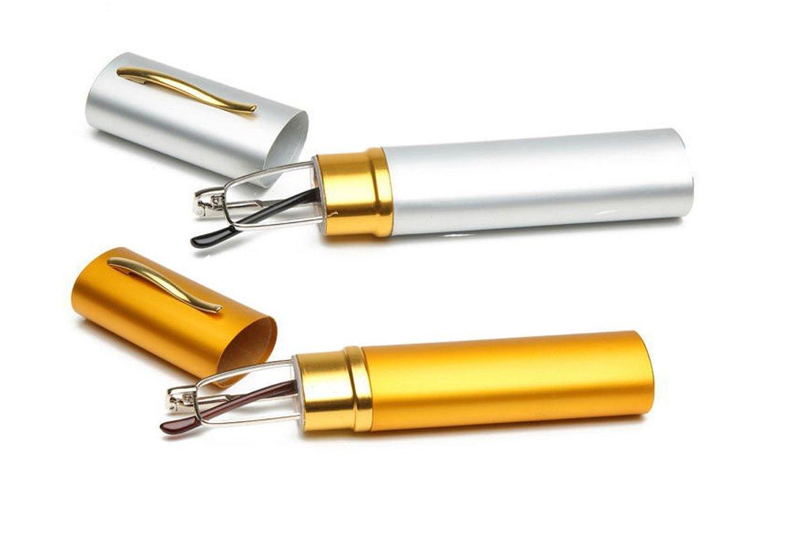 SOOLALA Lightweight Compact Reader Reading Glasses Reader w/Pen Clip Tube Case, GoldSilver, 2.75D