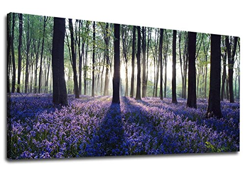 yearainn Canvas Wall Art Sunshine Forest with Purple Lavender Panoramic Green Trees Scenery Painting - Long Canvas Artwork Contemporary Nature Picture for Home Office Wall Decor 20