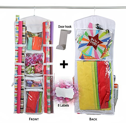 Wrapping Paper Storage Organizer BIG - 40 Inch Double Sided for Lots of Space. Hangs Over the Door for Paper & Bows. 8 Pockets with Thick, Durable Plastic. BONUS Metal Hook & 8 Fancy Stickers