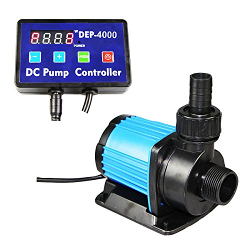 (Uniclife DEP-4000 Controllable DC Water Pump 1052 GPH with Controller for Marine Freshwater Aquarium Pond Circulation)