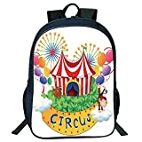 3D Print Design Black Double-Deck Rucksack,Circus Decor,Carnival a Circus Signboard Cirque Leaves Plants Fireworks Monkey Kids,Personalized Design.15.7'x 11.8'x 6.3'