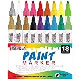 U.S. Art Supply 18 Color Set of Medium Point Tip Oil Based Paint Pen Markers - Permanent Ink that Works on Most Surfaces Glass, Wood, Metal, Rubber, Rocks, Stone, Arts, Crafts & Tools