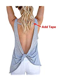 Imixshopcs Women Sexy Sleeveless Open Back Shirt Blouse Sport Vest Tops Tshirt