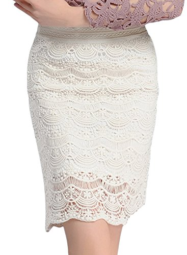 Beige Lace Skirt Achicgirl Women's Waist High Pencil Solid tt0wUqg