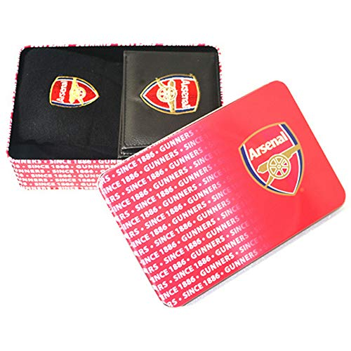 Arsenal FC Mens Official Supporters Wallet And Socks Tin (One Size) (Black/Red)